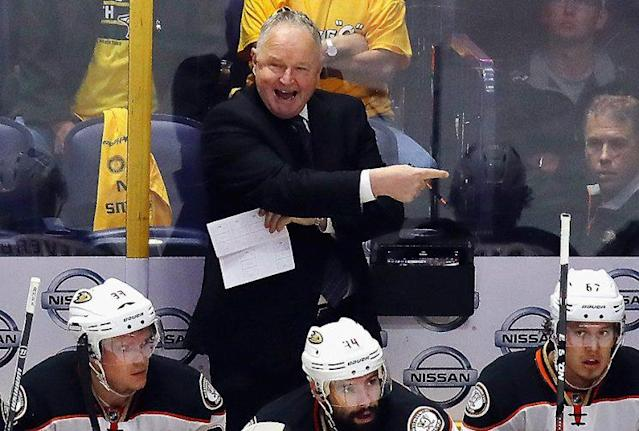 "NASHVILLE, TN – MAY 16: Head coach Randy Carlyle of the Anaheim Ducks reacts during the second period in Game Three of the Western Conference Final against the <a class=""link rapid-noclick-resp"" href=""/nhl/teams/nas/"" data-ylk=""slk:Nashville Predators"">Nashville Predators</a> during the 2017 Stanley Cup Playoffs at Bridgestone Arena on May 16, 2017 in Nashville, Tennessee. (Photo by Bruce Bennett/Getty Images)"