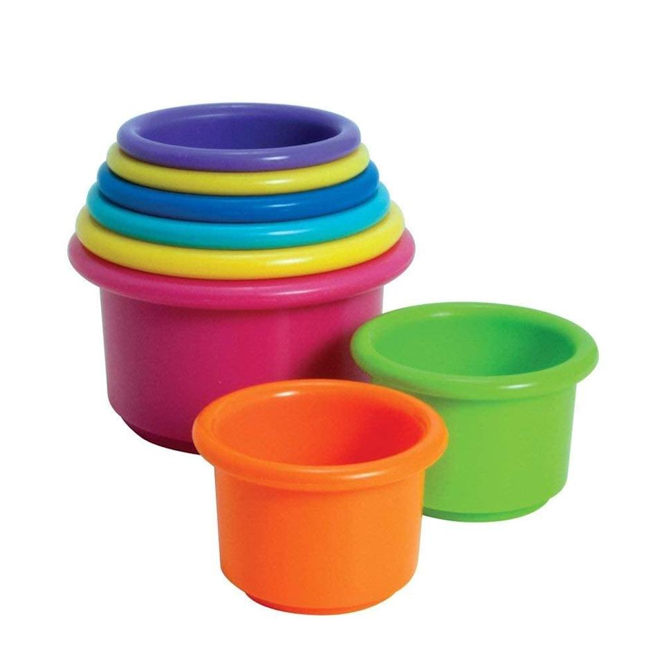 <p>These <span>The First Years Stack Up Cups</span> ($6) will be something they'll use well into toddlerhood as they learn stacking.</p>