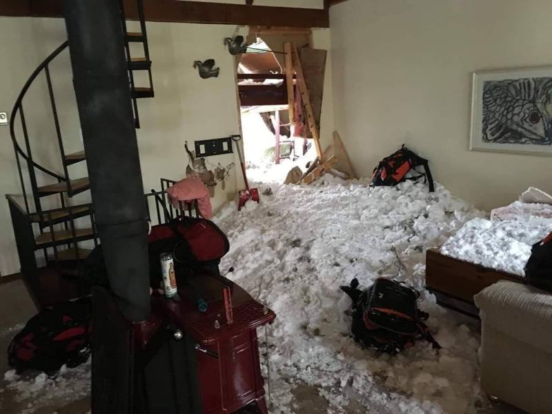 The living room of Hunt's house after the avalanche. (Courtesy of Christof Brownell)