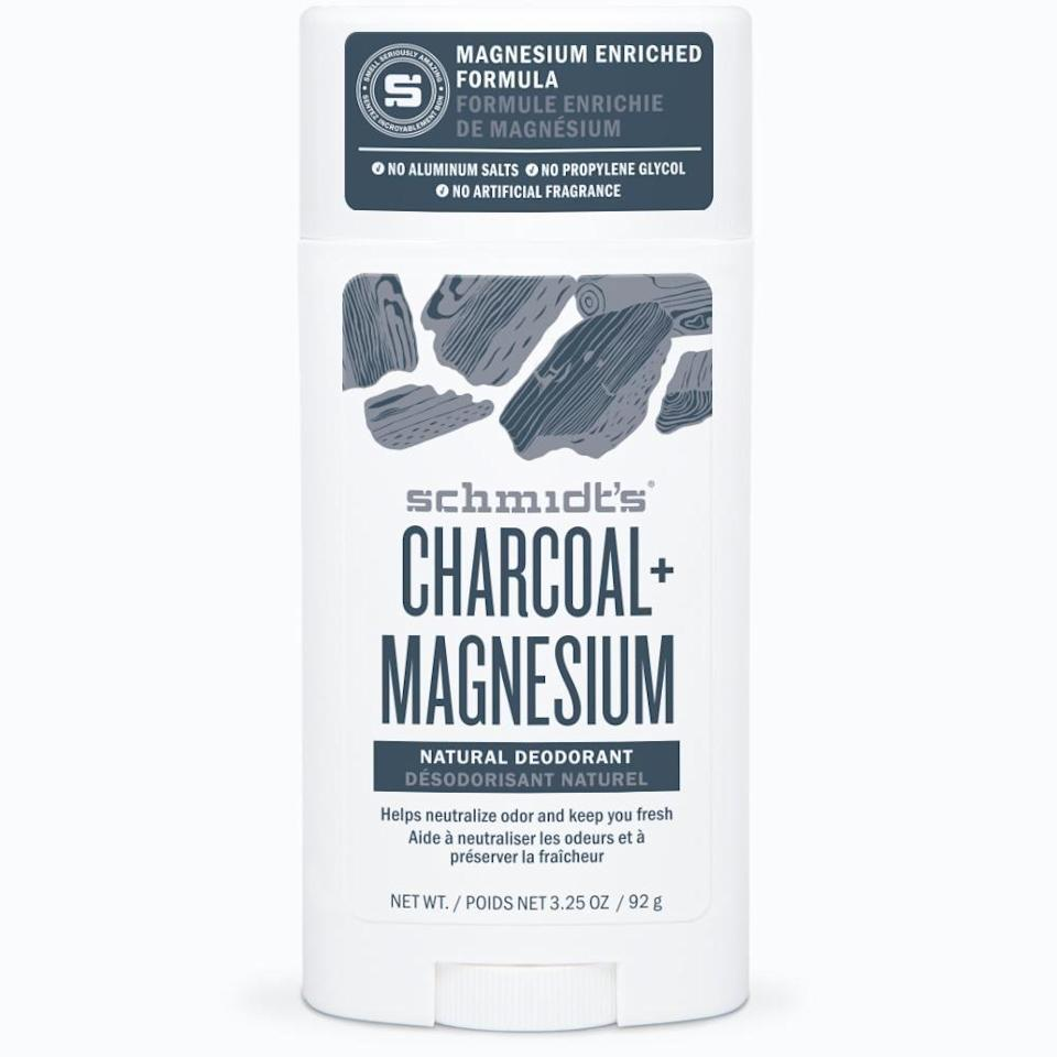 "<p><strong>Charcoal + Magnesium Natural Deodorant</strong></p><p>schmidts.com</p><p><strong>$9.99</strong></p><p><a href=""https://shop.schmidts.com/products/charcoal-magnesium-deodorant-stick"" rel=""nofollow noopener"" target=""_blank"" data-ylk=""slk:Shop Now"" class=""link rapid-noclick-resp"">Shop Now</a></p><p>Code ""THANKS25"" will get you 25% off your oder now through Cyber Monday. </p>"