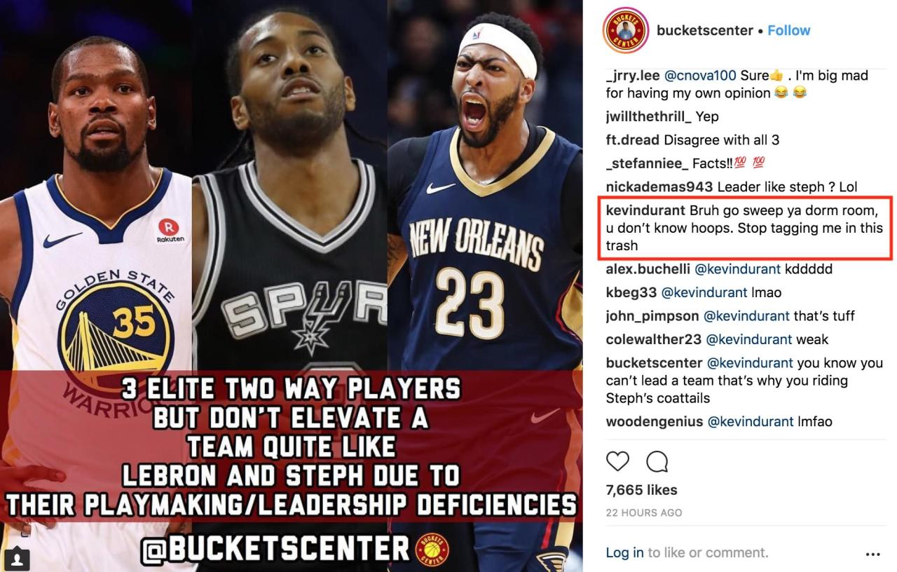 9ccc63164b8e No burners necessary  Kevin Durant responds to teen who d dogged him on IG
