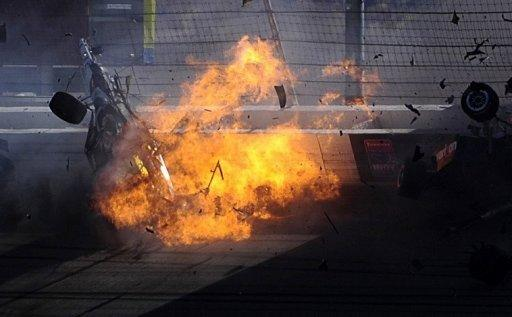 The car of Dan Wheldon bursts into flames in a 15 car pile up during the Las Vegas Indy 300. Wheldon was killed in a massive crash at the Las Vegas 300 IndyCar series finale on Sunday