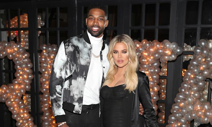 """Khloe Kardashian split with the father of her daughter True earlier this year when she and Tristan Thompson <a href=""""https://www.yahoo.com/entertainment/khloe-kardashian-tristan-thompson-split-221116199.html"""" data-ylk=""""slk:called time on their relationship;outcm:mb_qualified_link;_E:mb_qualified_link;ct:story;"""" class=""""link rapid-noclick-resp yahoo-link"""">called time on their relationship</a>. It had been a difficult year for the pair after their relationship was rocked by rumours he'd cheated on her with little sister Kylie's friend Jordan Woods, which Woods denied. Kardashian and Thompson then split months after. (Jerritt Clark/Getty Images for Remy Martin)"""