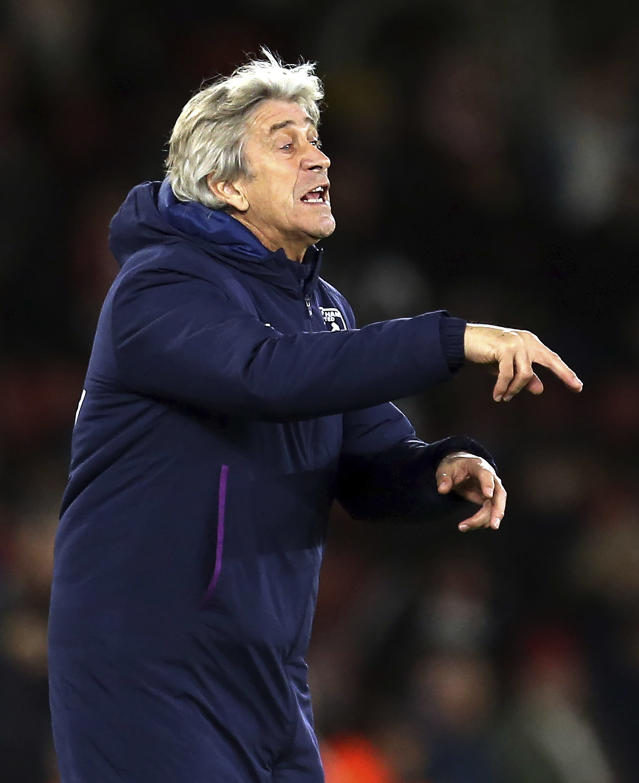West Ham United manager Manuel Pellegrini gestures on the touchline during a match against Southampton, during their English Premier League soccer match at St Mary's Stadium in Southampton, England, Saturday Dec. 14, 2019. (Steven Paston/PA via AP)