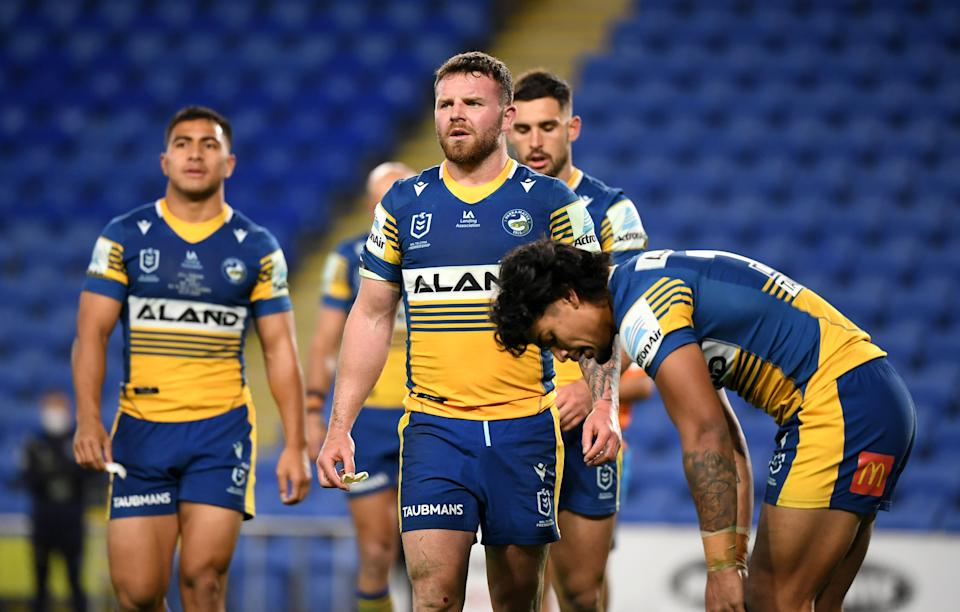 Eels players react following a Raiders try during the Round 19 NRL match between the Parramatta Eels and the Canberra Raiders at CBus Stadium, on July 22, 2021. (AAP Image/Dave Hunt)