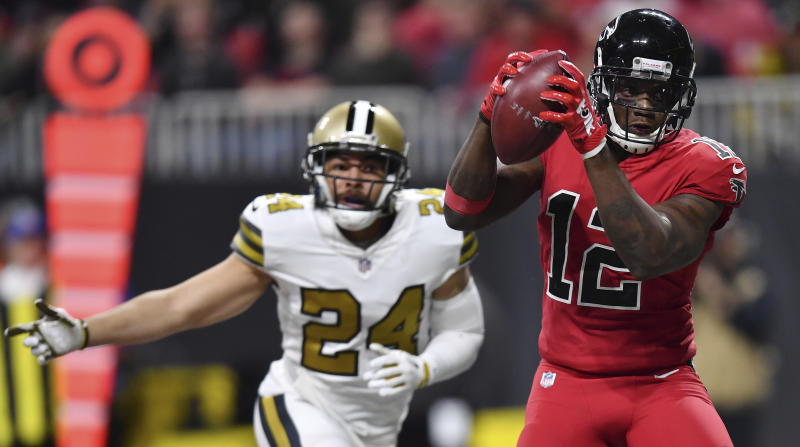 Atlanta Falcons wide receiver Mohamed Sanu (12) makes a touchdown catch against the New Orleans Saints. (AP)