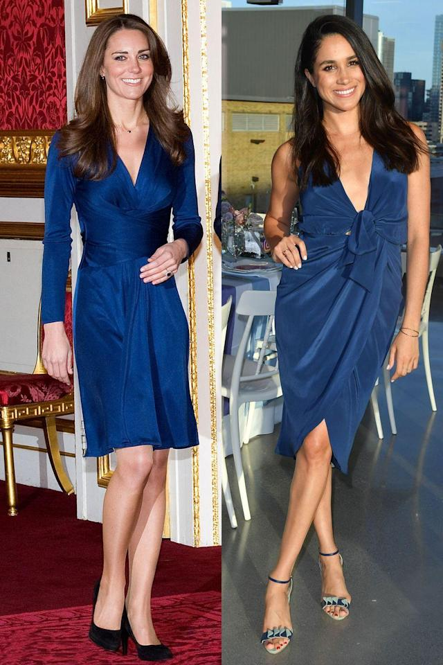 <p>You've definitely seen Kate's look before - it's the one she wore to announce her engagement back in 2010. Meghan took a cue from her future sister-in-law by wearing a dress of the same color, also with detailing around the waist.</p>