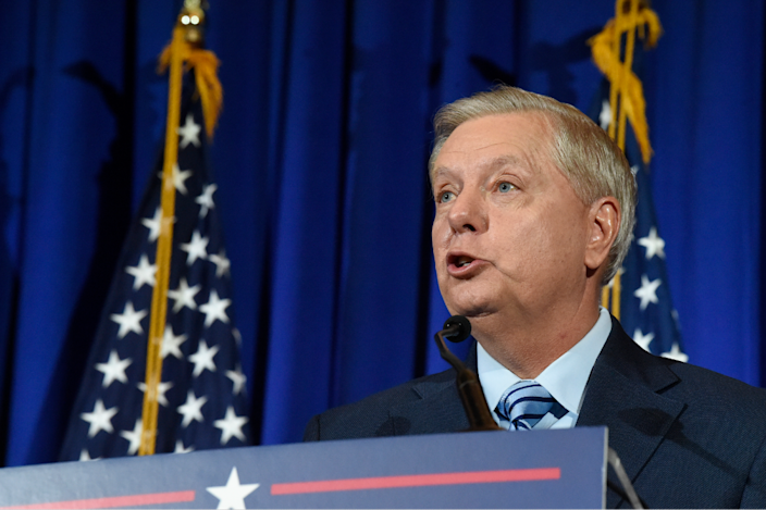 Sen. Lindsey Graham makes his victory speech after winning another term in office on Nov. 3.
