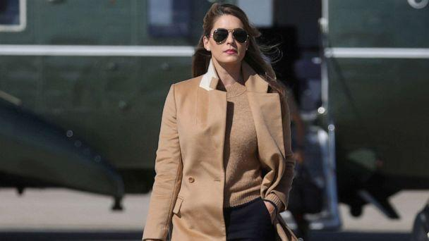 PHOTO: Hope Hicks, an advisor to President Donald Trump walks to Air Force One to depart Washington with the president and other staff on campaign travel to Minnesota from Joint Base Andrews, Md., Sept. 30, 2020. (Leah Millis/Reuters)