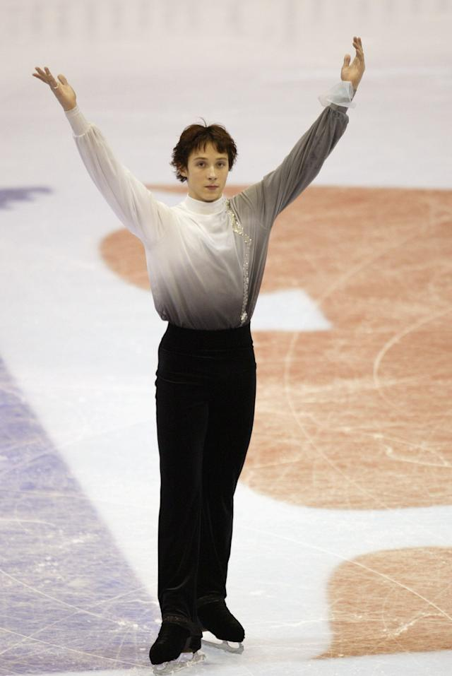 Finishing his program in the men's free skate at the State Farm U.S. Figure Skating Championships on Jan. 18, 2003, in Dallas.