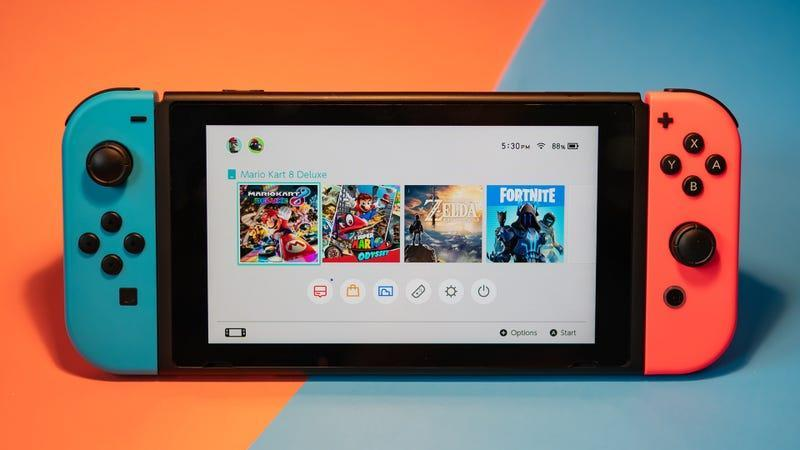 a nintendo switch against a red and blue background - best switch memory cards