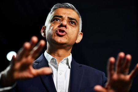 FILE PHOTO: Mayor of London Sadiq Khan speaks during an interview with Reuters at an event to promote the start of London Tech Week