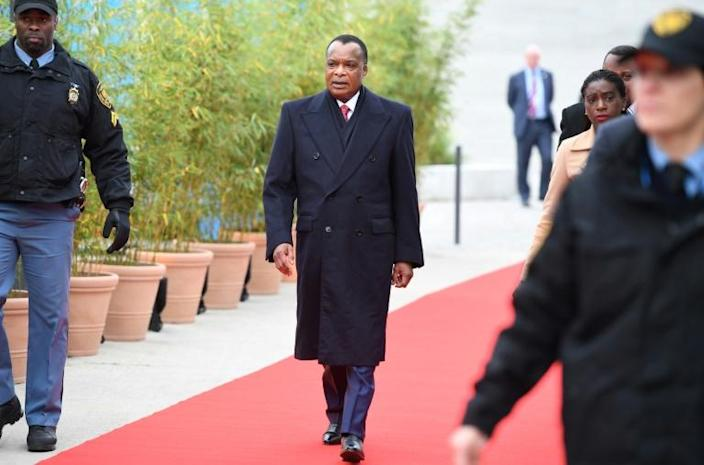 Denis Sassou Nguesso (C), President of the Republic of the Congo, is the frontrunner in the election