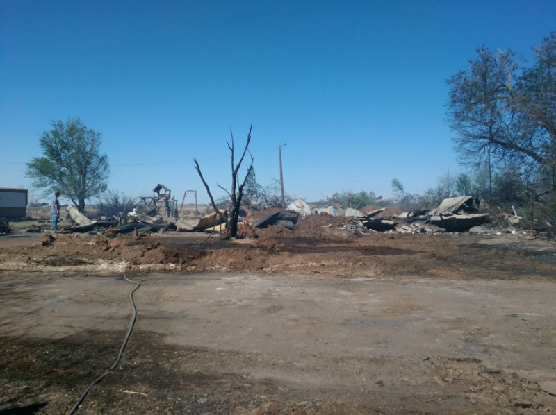 Lloyd Lake and his wife, Delena, lived in the same house in Martha, Oklahoma, for 21 years until a fire destroyed it on Saturday. (Courtesy of April Lake)