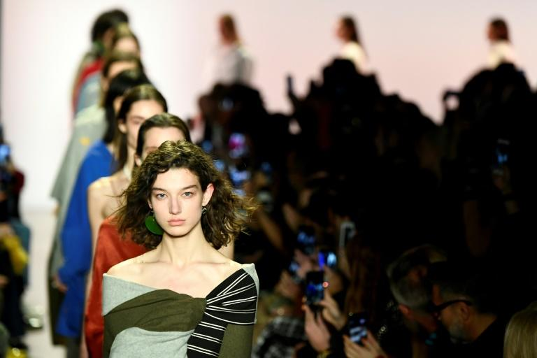 Models walk the runway for Esteban Cortazar during New York Fashion Week