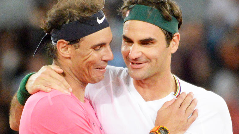 Rafael Nadal and Roger Federer, pictured here at The Match in Africa in Cape Town.