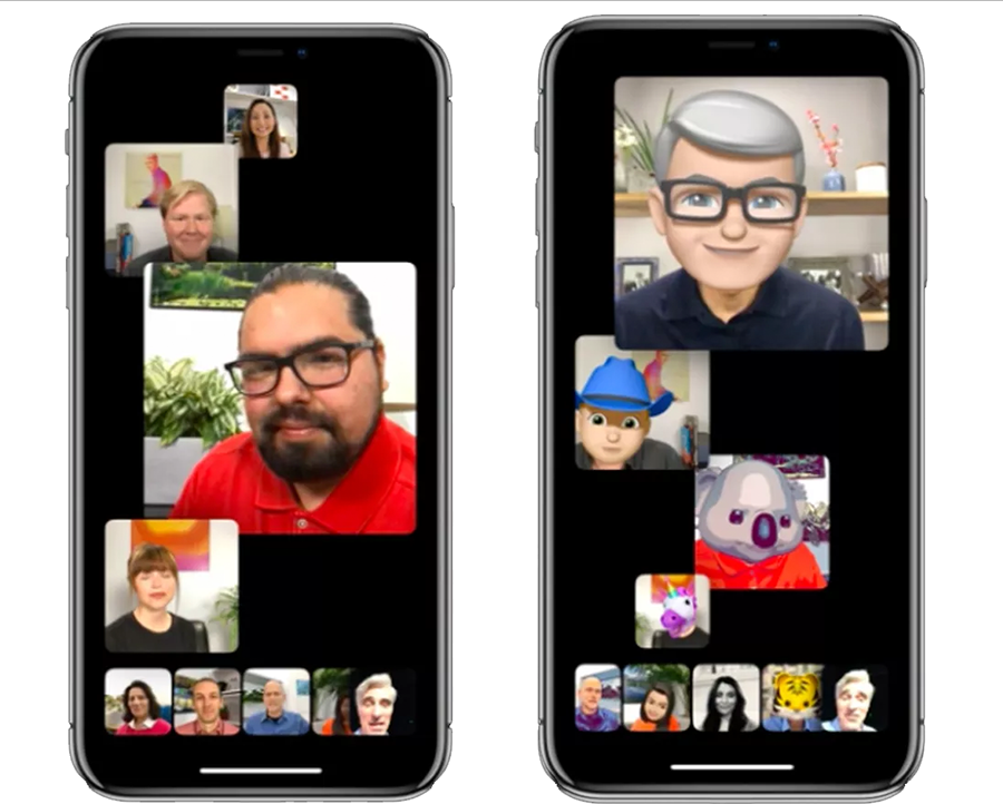 <em>Group FaceTime (left)! Participants can wear their animoji heads, if they like (right).</em>