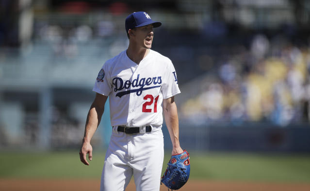 Los Angeles Dodgers rookie pitcher Walker Buehler didn't allow a hit until the sixth inning. (AP Photo)