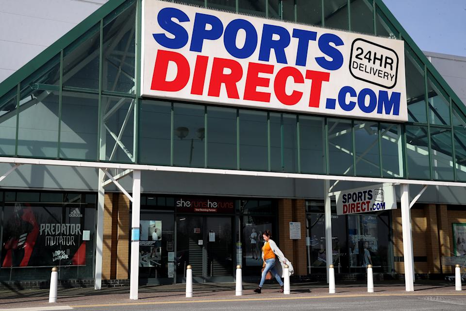 A view of a closed Sports Direct store at Wrekin Retail Park in Telford, the day after Prime Minister Boris Johnson put the UK in lockdown to help curb the spread of the coronavirus. Sports Direct has said it will close its stores in a major U-turn after initially calling for its workers to continue selling sports and fitness equipment in the face of coronavirus. (Photo by Nick Potts/PA Images via Getty Images)