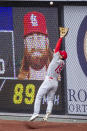 St. Louis Cardinals third baseman Tommy Edman catches a fly during the second inning of a baseball game, Sunday, April 18, 2021, in Philadelphia. (AP Photo/Laurence Kesterson)