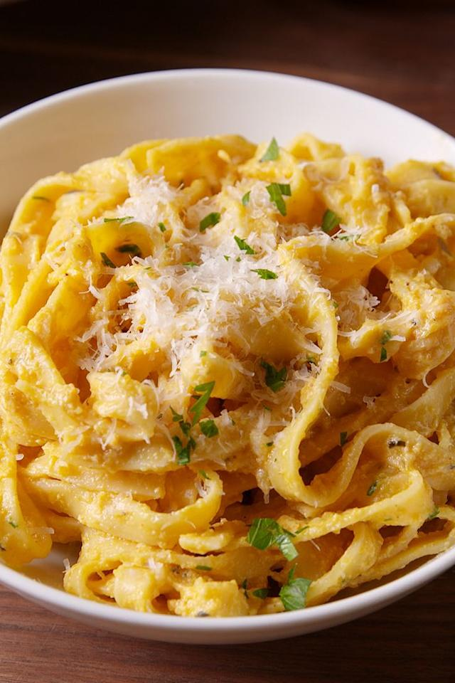 "<p>White alfredo? Bo-ring.</p><p>Get the recipe from <a href=""/cooking/recipe-ideas/recipes/a50385/pumpkin-alfredo-recipe/"" target=""_blank"">Delish</a>.</p>"