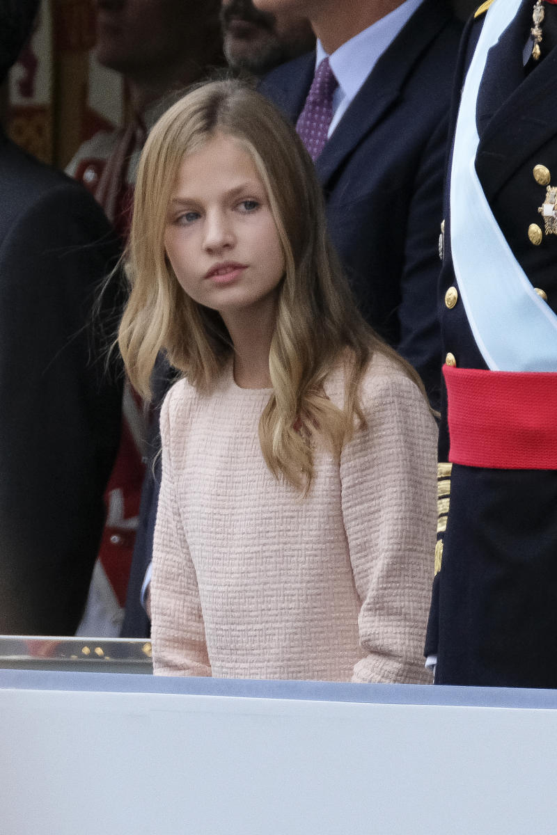 Princess Leonor of Spain attend the National Day Military Parade on October 12, 2019 in Madrid, Spain (Photo by Oscar Gonzalez/NurPhoto via Getty Images)
