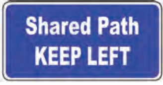 """A sign that says """"Shared Path. Keep Left""""."""