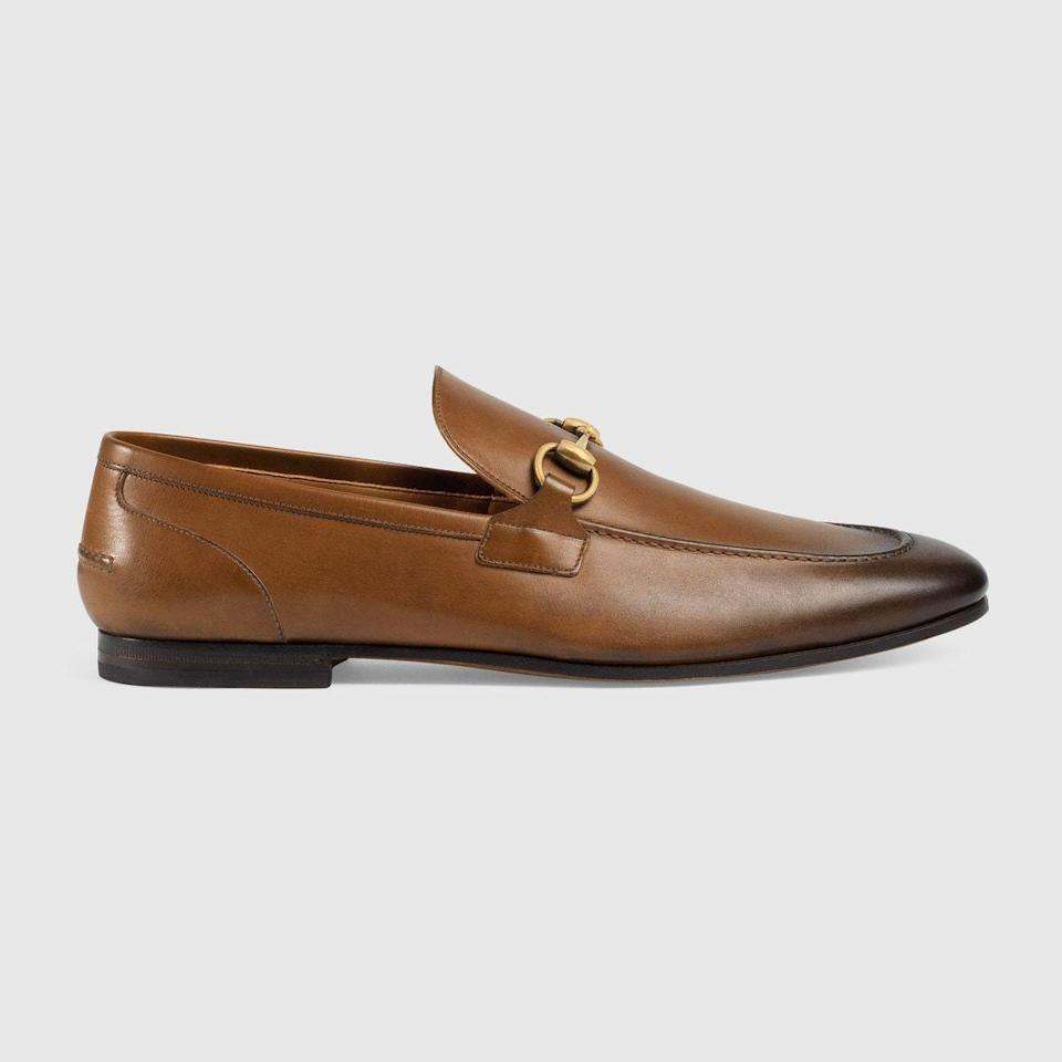 """<p><strong>Gucci</strong></p><p>gucci.com</p><p><strong>$830.00</strong></p><p><a href=""""https://go.redirectingat.com?id=74968X1596630&url=https%3A%2F%2Fwww.gucci.com%2Fus%2Fen%2Fpr%2Fmen%2Fshoes-for-men%2Fmoccasins-and-loafers-for-men%2Fgucci-jordaan-leather-loafer-p-406994BLM002535&sref=https%3A%2F%2Fwww.esquire.com%2Fstyle%2Fmens-fashion%2Fg28186249%2Fbusiness-casual-shoes%2F"""" rel=""""nofollow noopener"""" target=""""_blank"""" data-ylk=""""slk:Shop Now"""" class=""""link rapid-noclick-resp"""">Shop Now</a></p><p>There are very few situations in which a Gucci bit loafer is not the right move. Go ahead and invest—it'll pay dividends.</p>"""