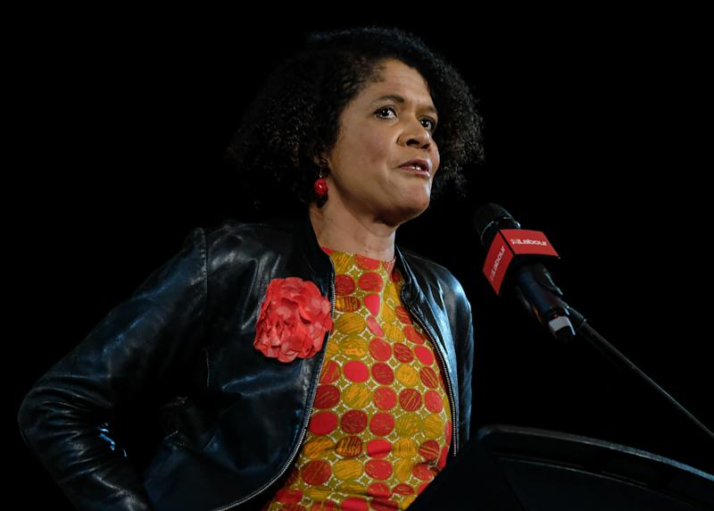NEWCASTLE UPON TYNE, ENGLAND - OCTOBER 05: Chi Onwurah, Labour Party politician and Member of Parliament for Newcastle Central delivers her speech as she attends a campaign rally at Newcastle City Hall on October 05, 2019 in Newcastle upon Tyne, England. Jeremy Corbyn attended the rally of party members and supporters with other member of the shadow cabinet. During the rally Mr Corbyn announced that in the event of a General Election he would launch the biggest people-powered campaign the country has seen. (Photo by Ian Forsyth/Getty Images)