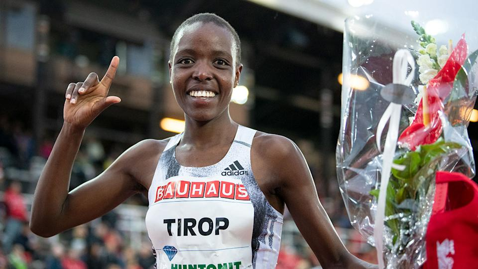 Pictured here, Kenyan 10km world record holder Agnes Tirop celebrates after a race.
