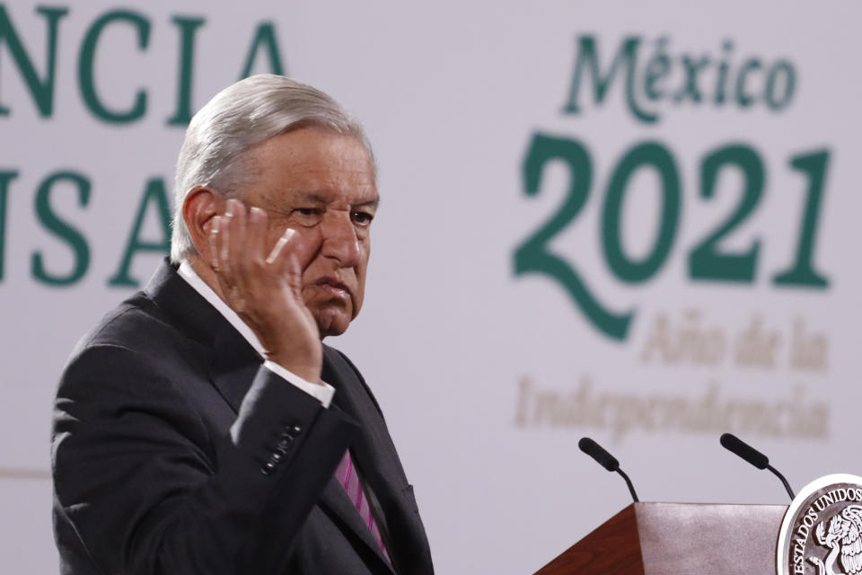 MEXICO CITY, MEXICO - JUNE 16, 2021: The President of Mexico, Andres Manuel Lopez Obrador, gesticulates while response the questions of the media during his daily briefing at National Palace on June 16, 2021 in Mexico City, Mexico. (Photo credit should read Luis Barron / Eyepix Group/Barcroft Media via Getty Images)