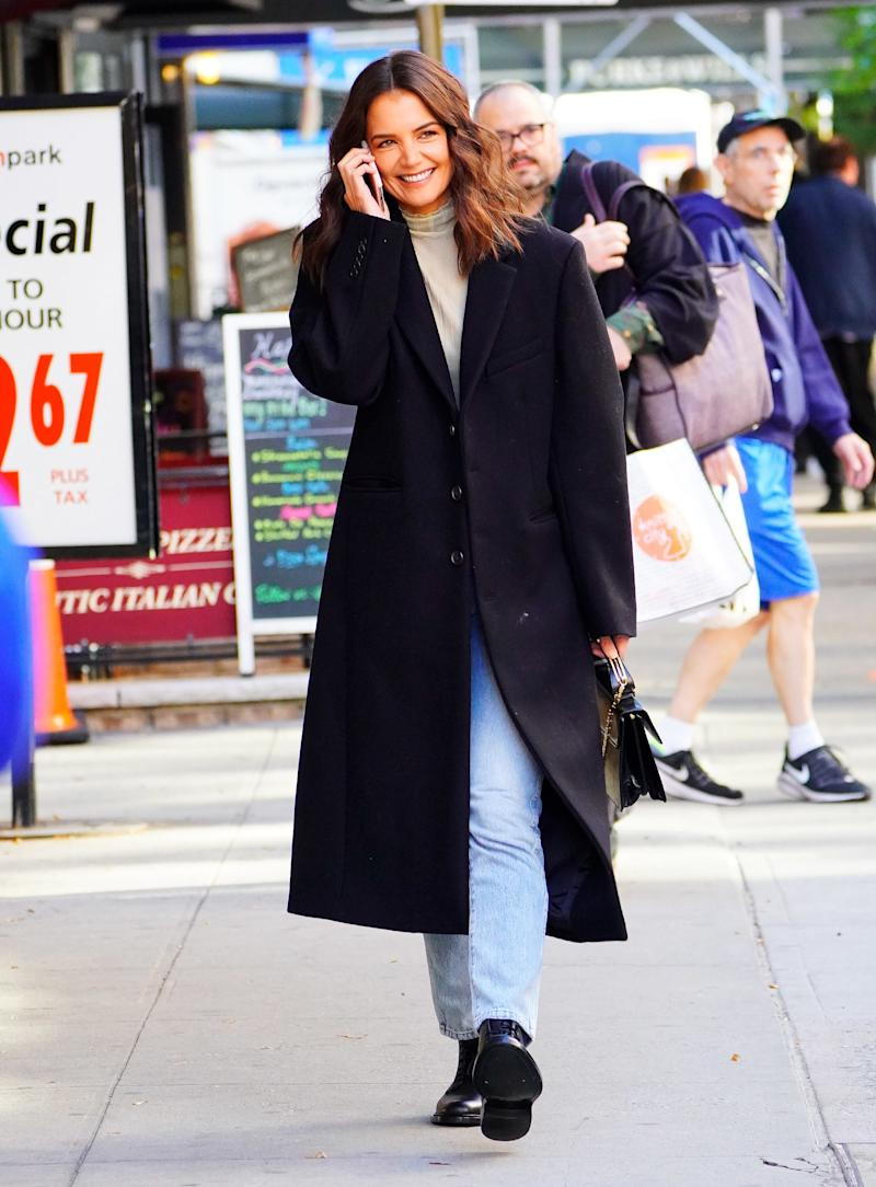 Holmes wearing a Wardrobe.NYC coat in New York City on October 15, 2019.