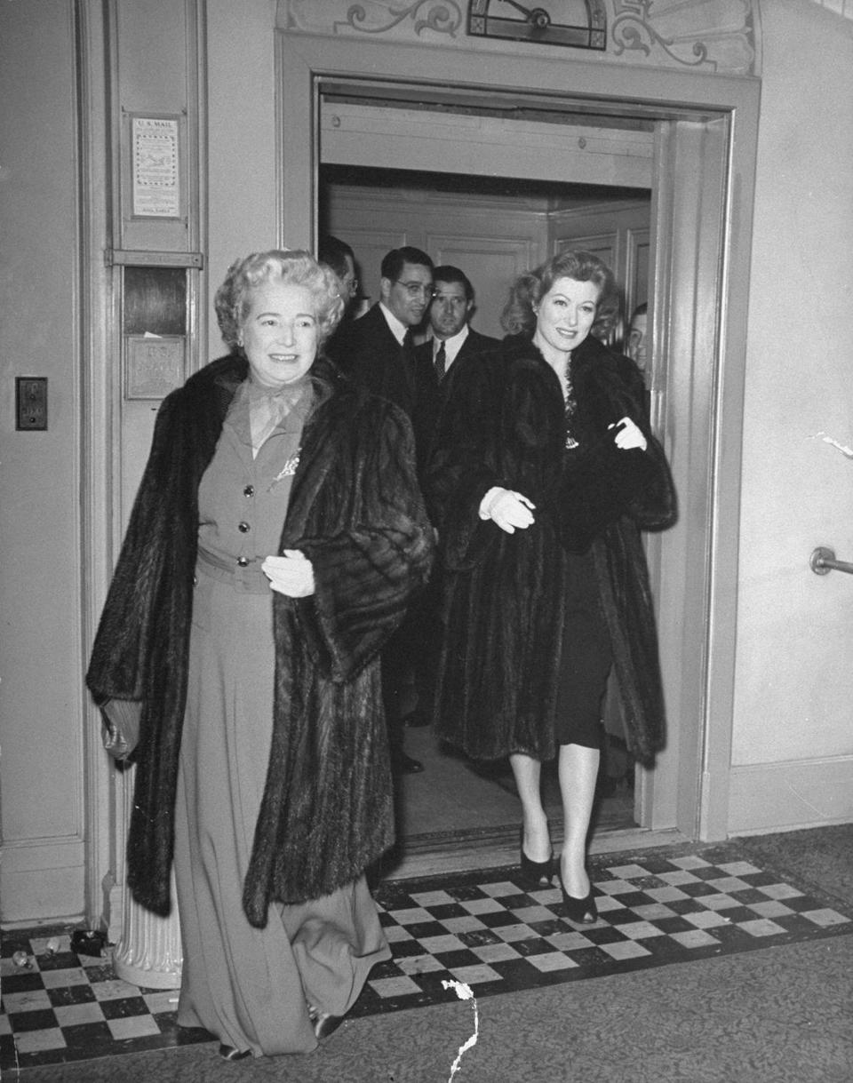 "<p>Greer donned a luxe coat, peep-toe sandals, and a black dress arriving to the Oscars this year. She won Best Actress later that night for her role in <em>Mrs. Miniver</em>. Also, her acceptance speech was one of the <a href=""https://oscar.go.com/news/oscar-history/1943-15th-academy-award-winners"" rel=""nofollow noopener"" target=""_blank"" data-ylk=""slk:longest in history"" class=""link rapid-noclick-resp"">longest in history</a> at 5 minutes and 30 seconds, so that's why there's a time limit on speeches now. The more you know!</p>"