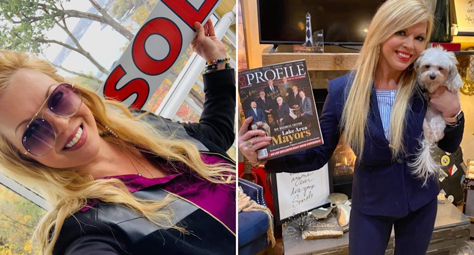 Leigh Ann Bauman with a sold sign and holding a mayor magazine