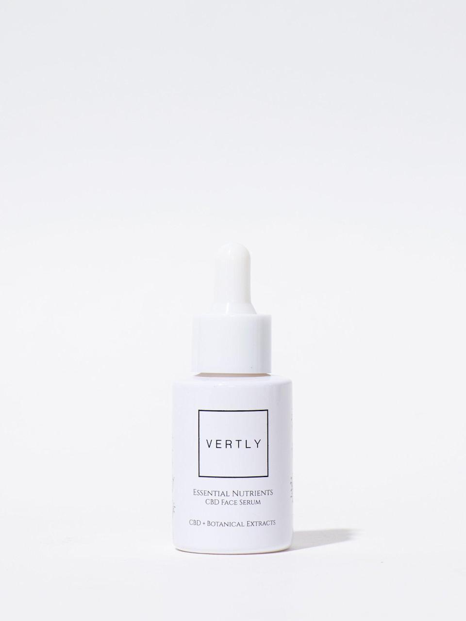 "<h3>Vertly Botanical Extract Face Serum</h3><br>Also from Vertly, this excellent serum contains 300 mg of full-spectrum CBD to help soothe skin and keep it in tip-top shape.<br><br><strong>Vertly</strong> Botanical Extract Face Serum, $, available at <a href=""https://go.skimresources.com/?id=30283X879131&url=https%3A%2F%2Fstandarddose.com%2Fproducts%2Fvertly-botanical-extract-face-serum"" rel=""nofollow noopener"" target=""_blank"" data-ylk=""slk:Standard Dose"" class=""link rapid-noclick-resp"">Standard Dose</a>"