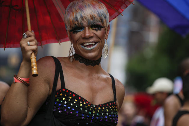 <p>A reveler attends the annual Pride Parade on June 24, 2018 in New York City. (Photo: Kena Betancur/Getty Images) </p>