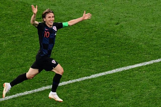 Croatia's midfielder Luka Modric celebrates after scoring