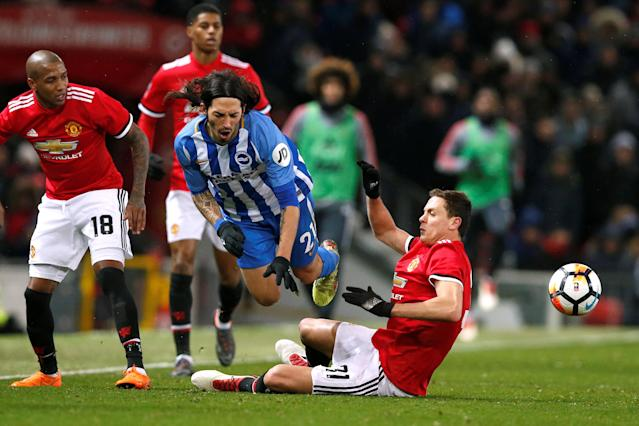 Soccer Football - FA Cup Quarter Final - Manchester United vs Brighton & Hove Albion - Old Trafford, Manchester, Britain - March 17, 2018 Manchester United's Nemanja Matic in action with Brighton's Ezequiel Schelotto REUTERS/Andrew Yates