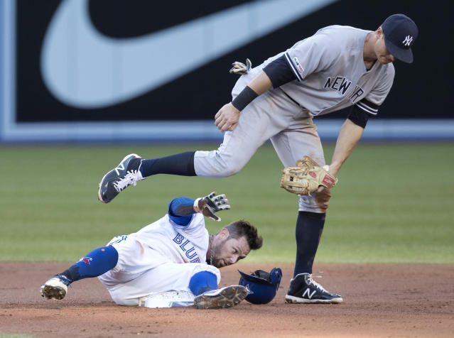 Toronto Blue Jays' Eric Sogard arrives with a double under the late tag by New York Yankees' DJ LeMahieu during the first inning of a baseball game Thursday, June 6, 2019, in Toronto. (Fred Thornhill/The Canadian Press via AP)