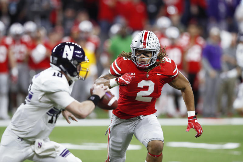 INDIANAPOLIS, IN - DECEMBER 01: Chase Young #2 of the Ohio State Buckeyes in action during the Big Ten Championship game against the Northwestern Wildcats at Lucas Oil Stadium on December 1, 2018 in Indianapolis, Indiana. Ohio State won 45-24. (Photo by Joe Robbins/Getty Images)