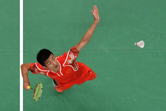 <p>Long Chen of China competes against Wan Ho Son of Korea during the Men's Singles Quarterfinal Badminton match Day 12 of the Rio 2016 Olympic Games at Riocentro – Pavilion 4 on August 17, 2016 in Rio de Janeiro, Brazil. (Photo by Richard Heathcote/Getty Images) </p>