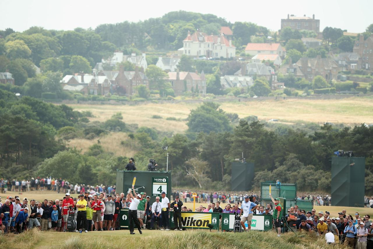 GULLANE, SCOTLAND - JULY 21: Phil Mickelson of the United States tees off on the 4th during the final round of the 142nd Open Championship at Muirfield on July 21, 2013 in Gullane, Scotland. (Photo by Andrew Redington/Getty Images)