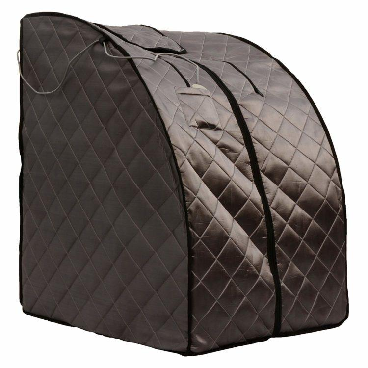 brown quilted infrared sauna