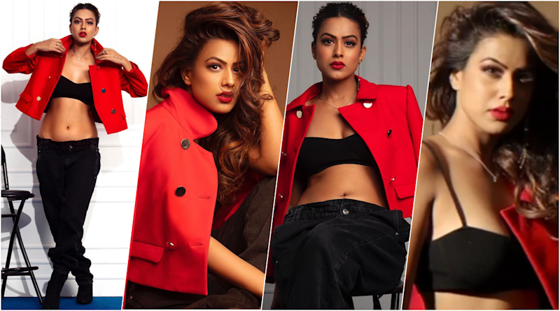 Nia Sharma Dons Daringly Low-Cut Jeans With Sexy Bralette and Red Hot Jacket for a Glam Photoshoot (View Pics & Video)