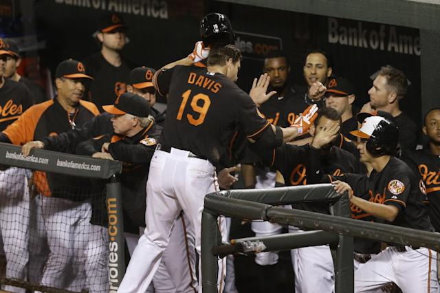 Baltimore Orioles' Chris Davis (19) high-fives teammates in the dugout after hitting a solo home run in the sixth inning of a baseball game against the Chicago White Sox, Friday, Sept. 6, 2013, in Baltimore. (AP Photo/Patrick Semansky)