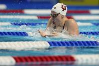 Lilly King participates in the Women's 100 Breaststroke during wave 2 of the U.S. Olympic Swim Trials on Monday, June 14, 2021, in Omaha, Neb. (AP Photo/Jeff Roberson)