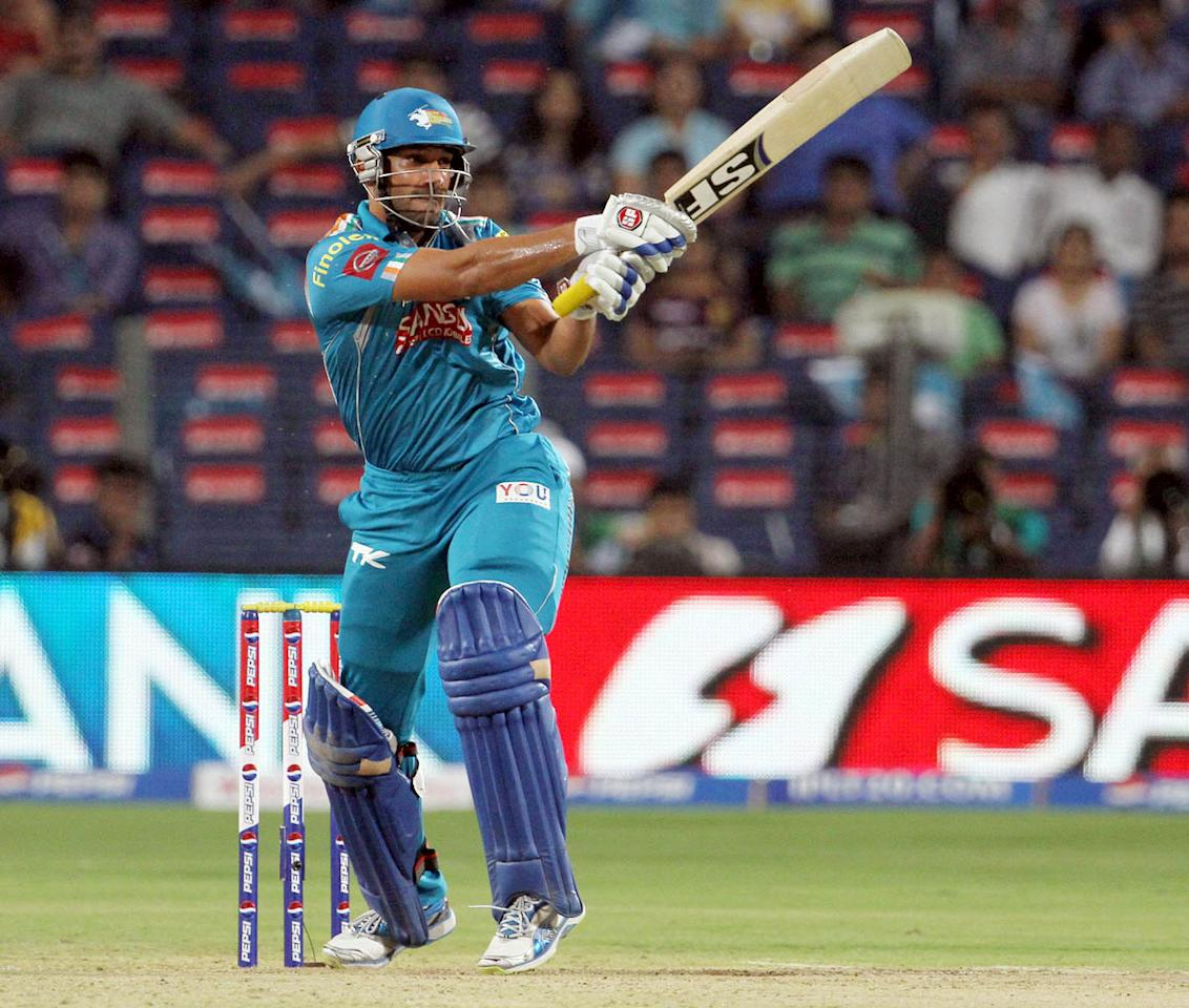 Pune Warriors player Udit Birla plays a shot during match 56 of the Pepsi Indian Premier League ( IPL) 2013  between The Pune Warriors India and the Kolkata Knight Riders held at the Subrata Roy Sahara Stadium, Pune on the 9th May 2013. (BCCI)