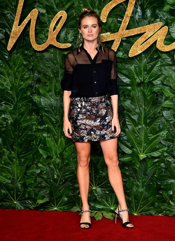 <p>Cressida Bonas demonstrated her sartorial prowess at the Fashion Awards 2018 in a heavily embellished mini skirt and sheer shirt. <em>[Photo: Getty]</em> </p>