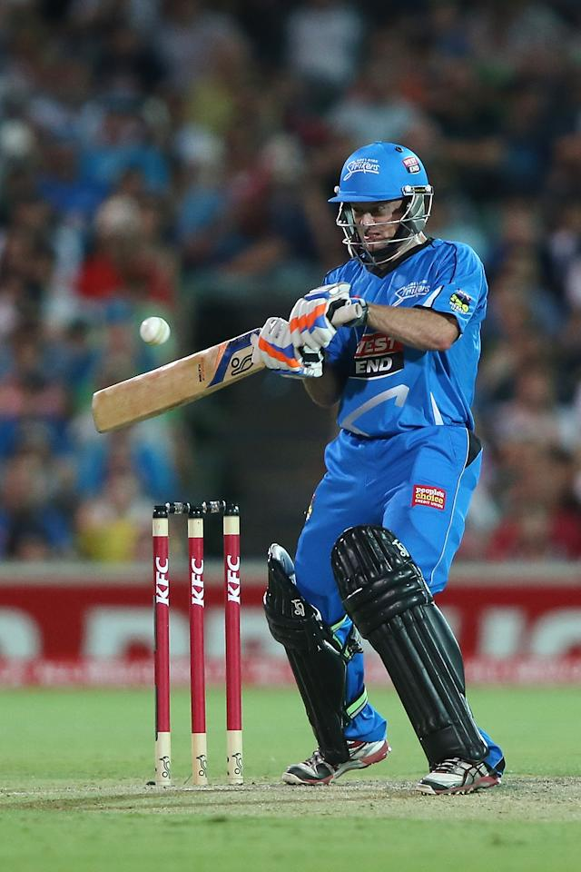 ADELAIDE, AUSTRALIA - DECEMBER 23: Tim Ludeman of the Strikers bats during the Big Bash League match between the Adelaide Strikers and the Sydney Sixers at Adelaide Oval on December 23, 2012 in Adelaide, Australia.  (Photo by Morne de Klerk/Getty Images)