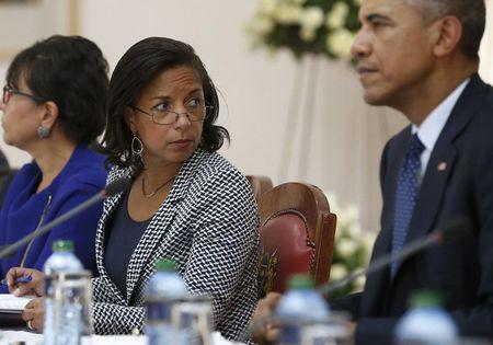 File photo of U.S. National Security Advisor Rice and President Obama participating in a bilateral meeting  at the State House in Nairobi